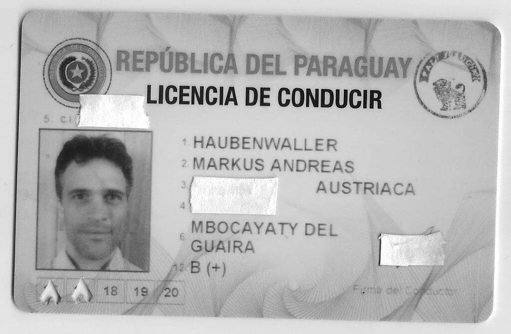 Vorderseite des Führerscheins in Paraguay