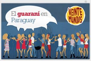 Zeichnung mit Menschen und Sprechblase: El guaraní en Paraguay