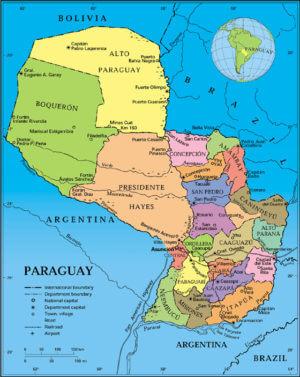 politische Landkarte von Paraguay