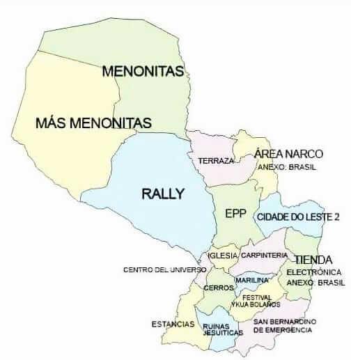 Karte von Paraguay mit Interessen und lokalen Gegebenheiten