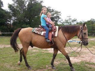 Zwei Kinder am Pferd