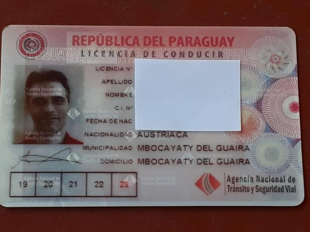 paraguayischer Führerschein aus Mbocayaty del Guaira